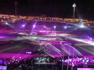Inauguracion juegos Stadium - iluminacion mediterraneo Bolivia